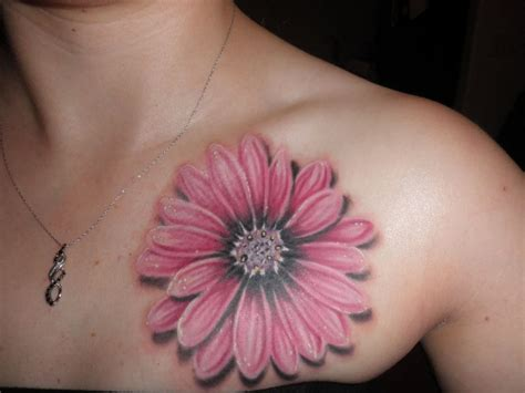 pink tattoo 3d three flower on left shoulder