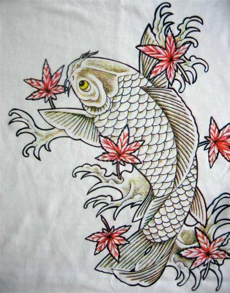Elbayu By Heav Koi momiji maple and japanese koi lucky fish irezumi t