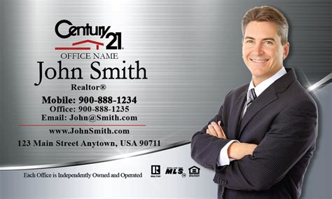 century 21 business card template century 21 business card silver stainless design 102391