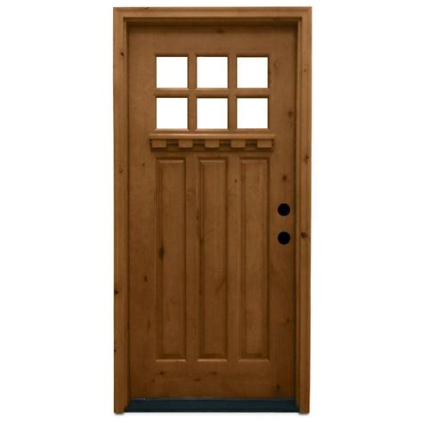 Exterior Door Wood Steves Sons 36 In X 80 In Craftsman 6 Lite Stained Knotty Alder Wood Prehung Front Door
