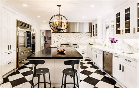 Marble Topped Kitchen Island Galley Style Kitchen Contemporary Kitchen