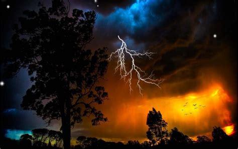 hd lightning sunset wallpaper