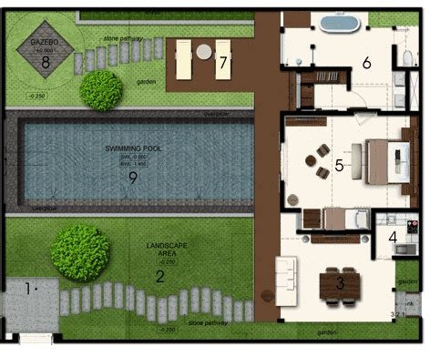 layout design of villa space at bali villa layout