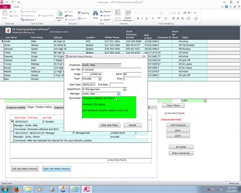 database software db pros hr tracking database software screenshots by