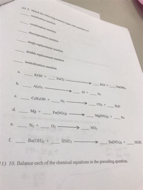 solved match each chemical reaction with the correct diag solved match the following reaction types with reaction o
