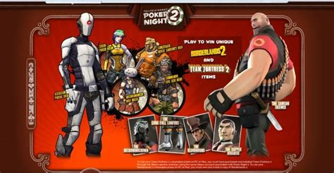 Tf2 Giveaways - poker night 2 unlockable items for tf2 and borderlands 2 revealed