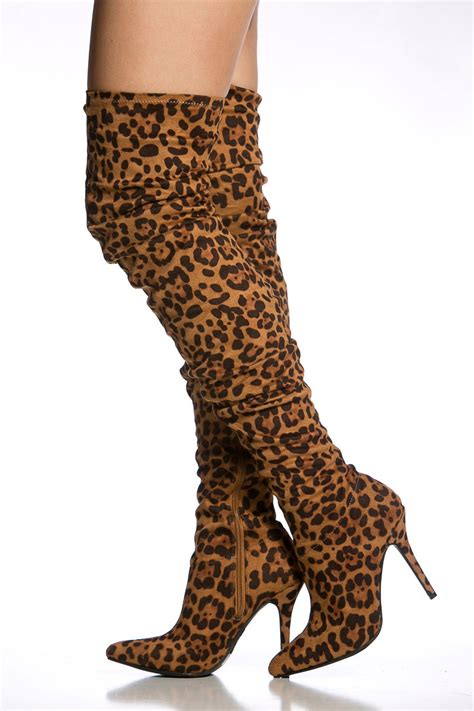 leopard print faux suede pointed toe thigh high boots