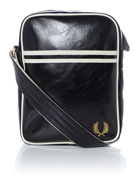 fred perry leather flight bag  black  men lyst