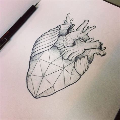 simple tattoo gem geometric heart by moviemetal3 tattoo pinterest gem