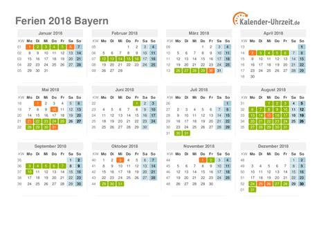 Kalender 2018 Zum Ausdrucken Mit Feiertagen Bayern Ferien Bayern 2018 Ferienkalender Zum Ausdrucken