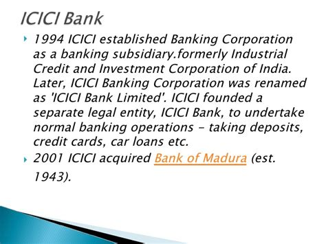 who is the founder of icici bank icici bank presentation