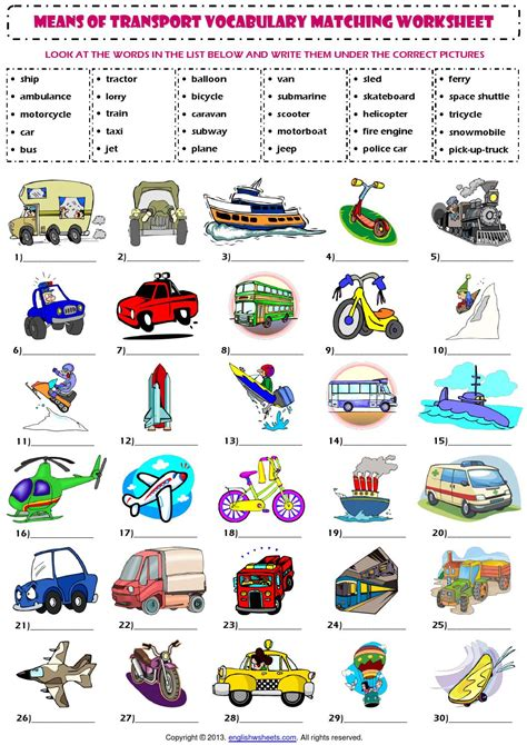 5 Lists To Look by Means Of Transport Vocabulary Matching Exercise Worksheet