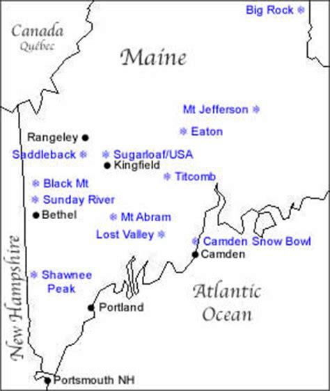 maine ski resorts map map of maine ski resorts