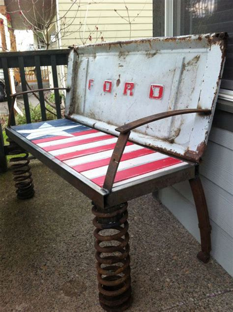rusty  car parts patriotic bench