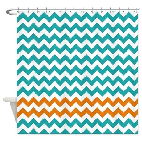 Aqua And Orange Curtains Turquoise And Orange Chevron Stripes Shower Curtai By Littlebugdesigns