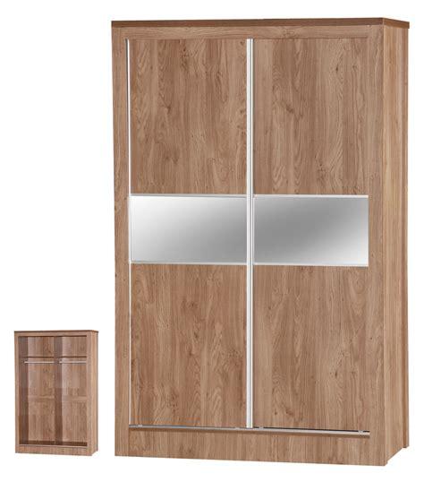 Sliding Door Bedroom Furniture New Oak 2 Door Sliding Mirrored Wardrobe Wooden Bedroom Furniture Ebay