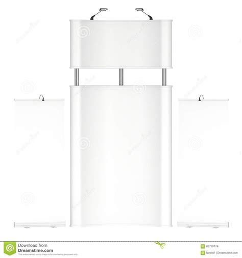 3d booth design template trade show booth white and blank stock illustration
