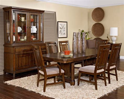 broyhill dining room broyhill estes park 7pc rectangular trestle dining set in oak by dining rooms outlet