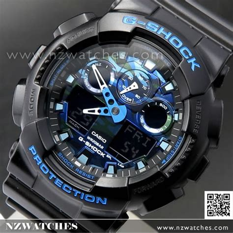 G Shock Ga 100 Black Blue Rubber buy casio g shock matte black with blue limited sport ga 100cb 1a ga100cb buy watches