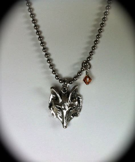 s silver wolf pendant necklace blue fox by graciewieber