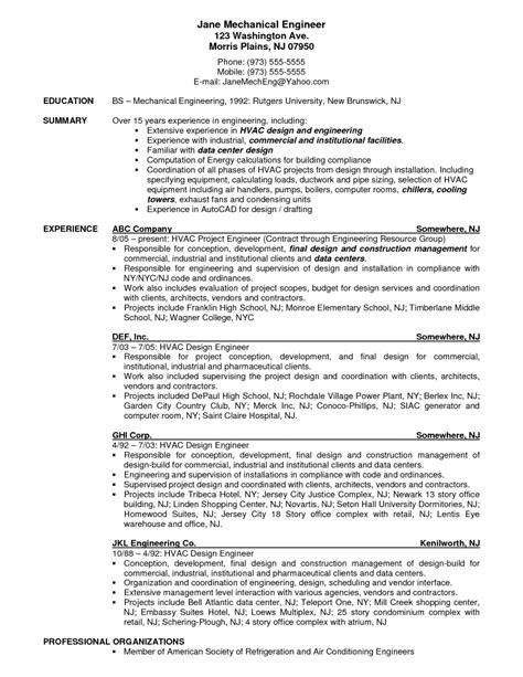 Resume Sles For Design Engineers Mechanical Hvac Engineer Resume Exle Resumes Design