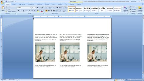 card card template microsoft word
