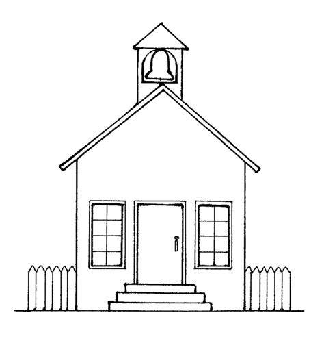 colorings school house drawing