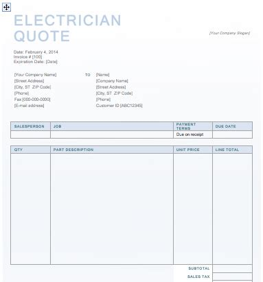 Electrician Quote Template electrician quotation template free quotation templates