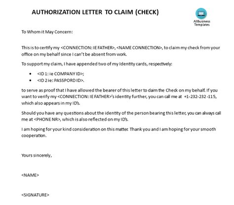 authorization letter claim check what is a sle authorization letter to collect a
