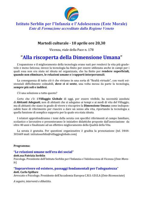 Vicenza Isi 4 isi marted 236 culturale il 10 aprile a vicenza sul tema