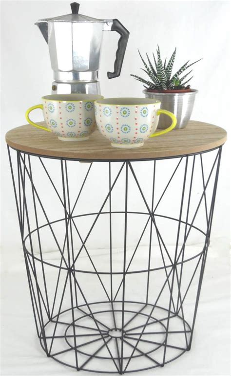 wire and wood basket side table retro side table loft style metal wire basket wooden