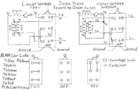 drum switch single phase motor wiring diagram drum get