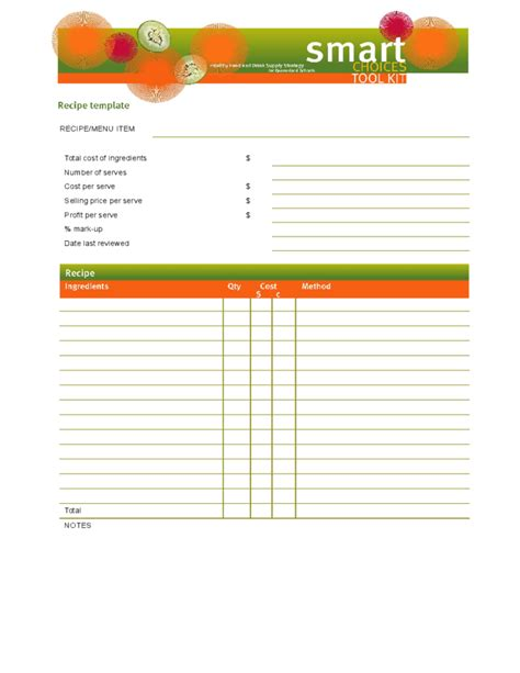 recipe document template blank recipe template free