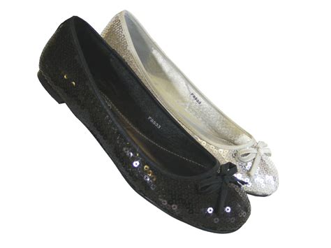 silver flat shoes womens black and silver flat ballerinas ballet