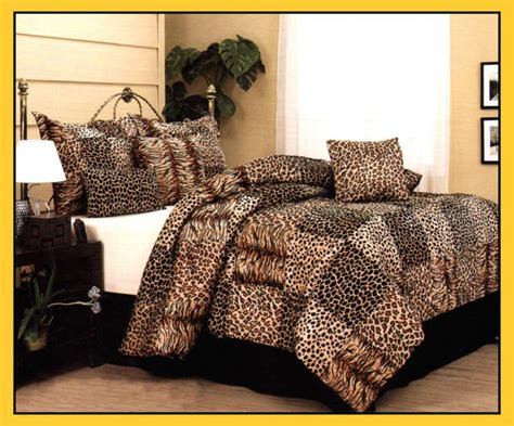 leopard tiger giraffe print comforter set queen brown ebay
