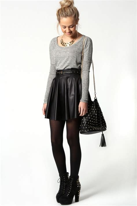 jules leather look skater skirt with belt at boohoo