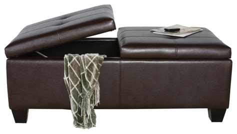 Alpine Leather Storage Ottoman Coffee Table Transitional Leather Storage Ottoman Coffee Table