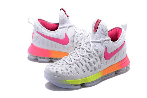 pink kd basketball shoes kd 9 basketball shoes white pink yellow