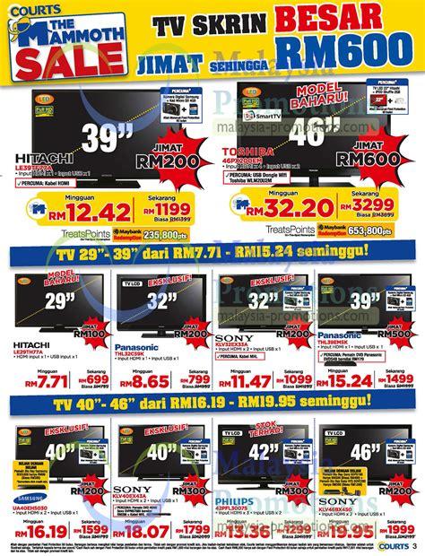 Tv Toshiba Malaysia led tvs lcd tvs hitachi toshiba sony panasonic samsung 187 courts mammoth sale up to 80