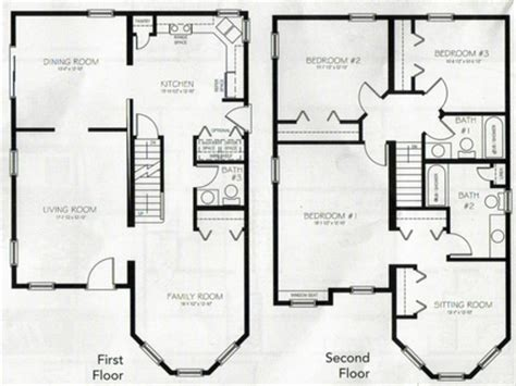 2 Story Cottage House Plans 2 Story Cabin Floor Plans Two 4 Bedroom House With Loft House Plans