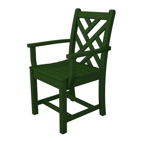 Green Plastic Patio Chairs Shop Polywood Chippendale Green Plastic Patio Dining Chair At Lowes