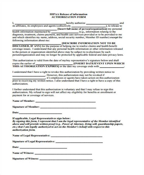 Patient Release Form Template Hipaa Compliant Release Of Information Template