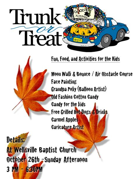 trunk or treat flyer template trunk or treat wellsville baptist church