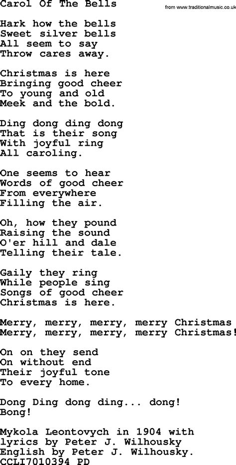 carol of the bell christmas powerpoints song carol of the bells lyrics