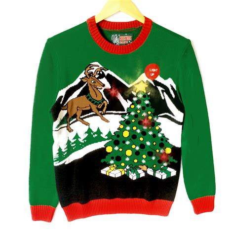 liteup xmas trees and reindeer gaze upon the light up tree o reindeer sweater the sweater shop