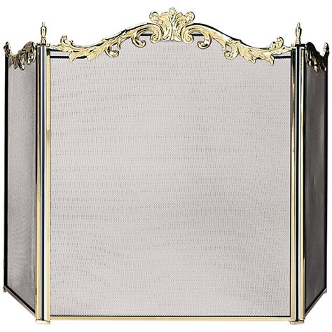Solid Brass Fireplace Screen by Uniflame 3 Fold Cast Solid Brass Fireplace Screen S 9668