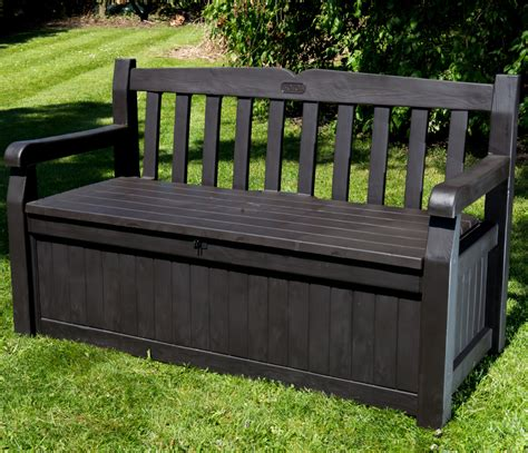 Outdoor Bench With Storage Iceni 2 Seater Storage Bench Brown Wood Effect 163 129 99 Garden4less Uk Shop