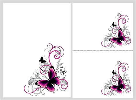 Pretty Pink Black Butterflies Blank Invitation Templates Printables Downloads Pretty Invitation Templates