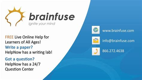 Brainfuse Homework Help by Brainfuse Study Now Education Higher Ed Live
