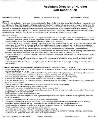 director of nursing job description sle 9 exles